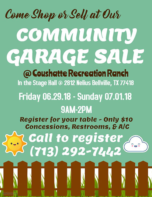 Community Garage Sale Coushatte RV Ranch
