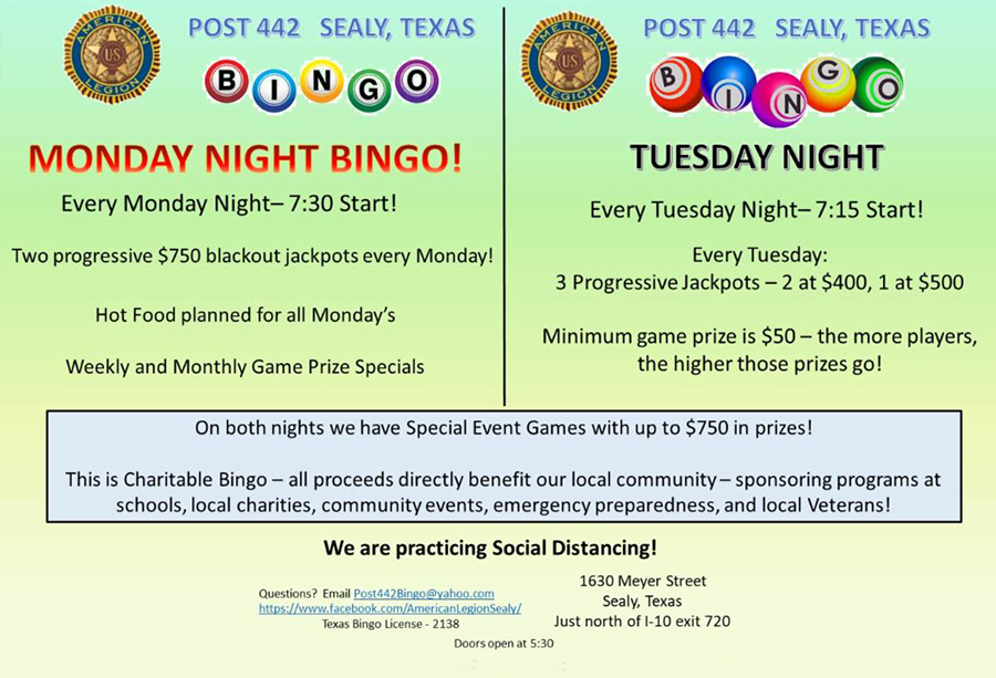 Bingo Monday & Tuesday Nights