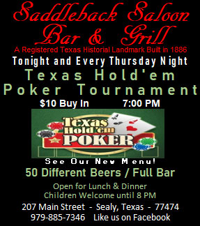 Saddleback Saloon Texas Holdem Poker Thursdays